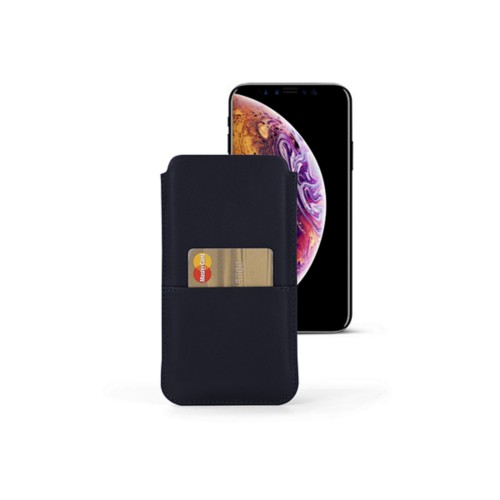 iPhone XS Max Pouch with pocket - Navy Blue - Smooth Leather