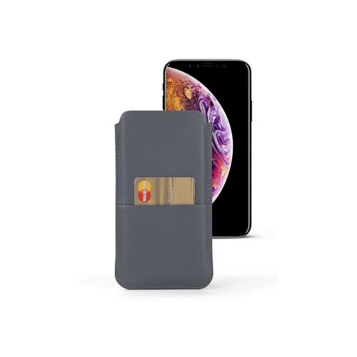 iPhone XS Max Pouch with pocket - Mouse-Grey - Smooth Leather