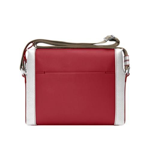 Mini messenger bag L5 - Amaranto-White - Granulated Leather