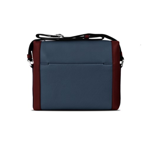 Mini messenger bag L5 - Navy Blue-White - Granulated Leather