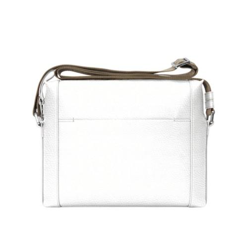 L5 Mini-Kuriertasche - Weiß - Genarbtes Leder
