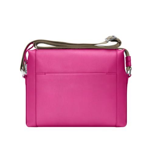 Mini messenger bag L5 - Fuchsia - Granulated Leather