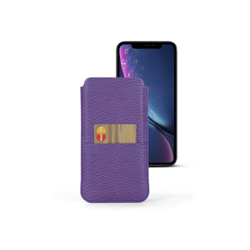 iPhone XR Pouch with pocket - Lavender - Granulated Leather