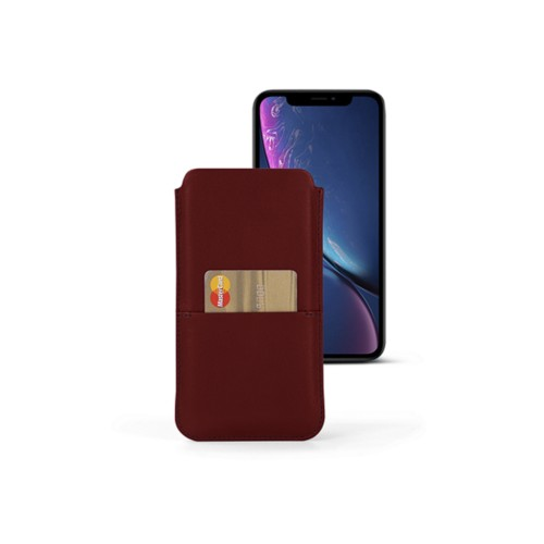 iPhone XR Pouch with pocket - Burgundy - Smooth Leather