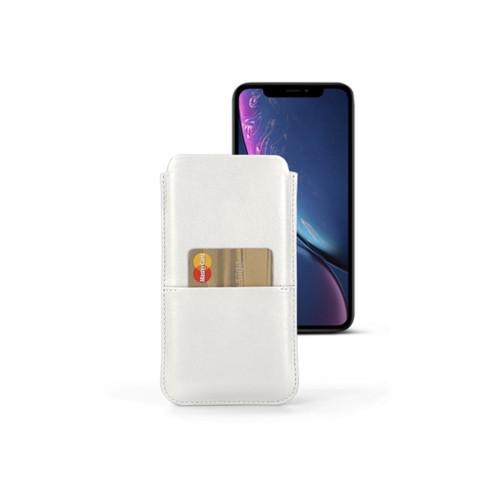 Housse iPhone XR avec poche - Blanc - Cuir Lisse