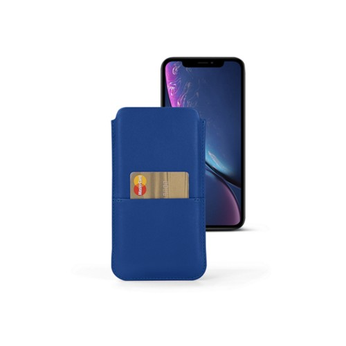 iPhone XR Pouch with pocket - Royal Blue - Smooth Leather