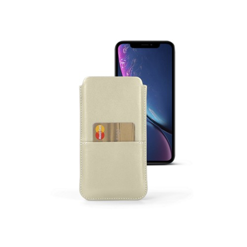 iPhone XR ポーチ(ポケット付き) - Off-White - Smooth Leather