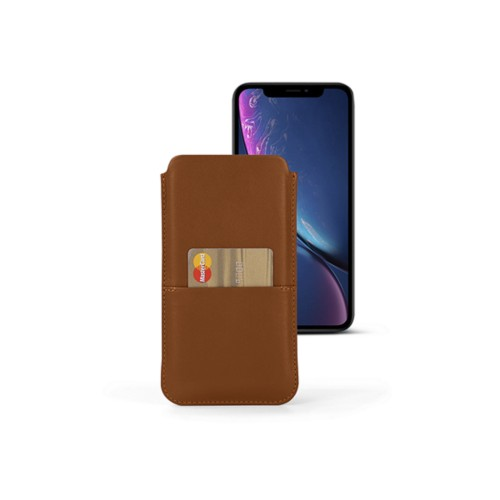 iPhone XR Pouch with pocket - Tan - Smooth Leather