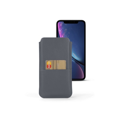 iPhone XR Pouch with pocket - Mouse-Grey - Smooth Leather