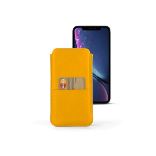 iPhone XR ポーチ(ポケット付き) - Sun Yellow - Smooth Leather