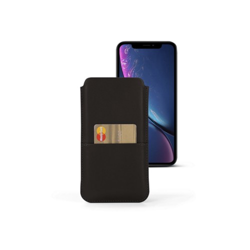 iPhone XR Pouch with pocket - Dark Brown - Smooth Leather