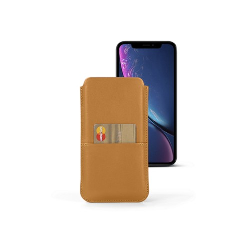 iPhone XR Pouch with pocket - Natural - Smooth Leather