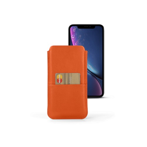 Housse iPhone XR avec poche - Orange - Cuir Lisse