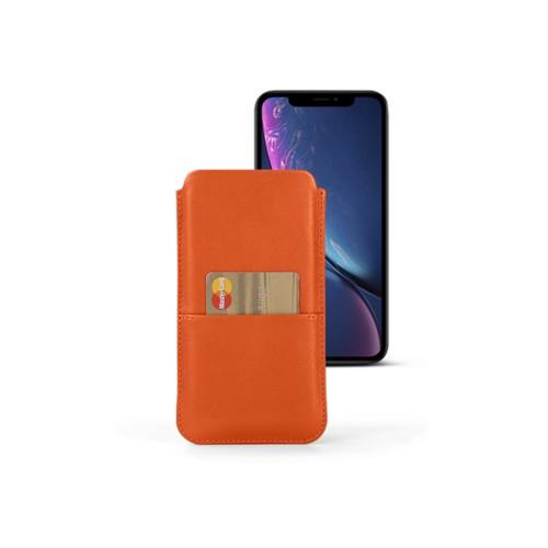 Funda con bolsillo para iPhone XR - Naranja - Piel Liso