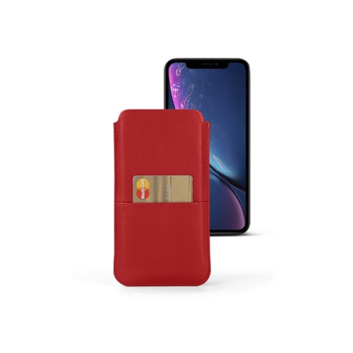 iPhone XR ポーチ(ポケット付き) - Red - Smooth Leather