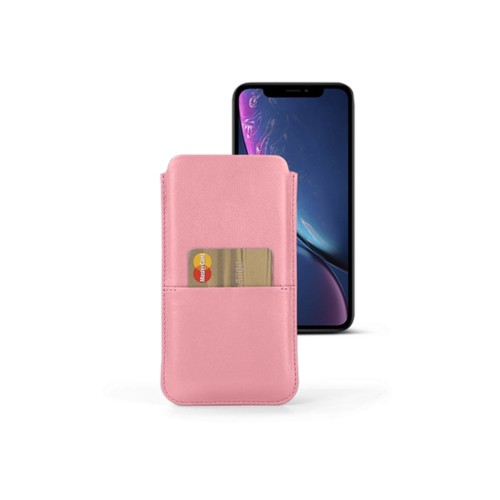 iPhone XR Pouch with pocket - Pink - Smooth Leather