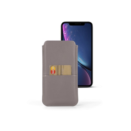 iPhone XR Pouch with pocket - Light Taupe - Smooth Leather