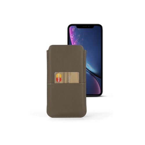 iPhone XR Pouch with pocket - Dark Taupe - Smooth Leather