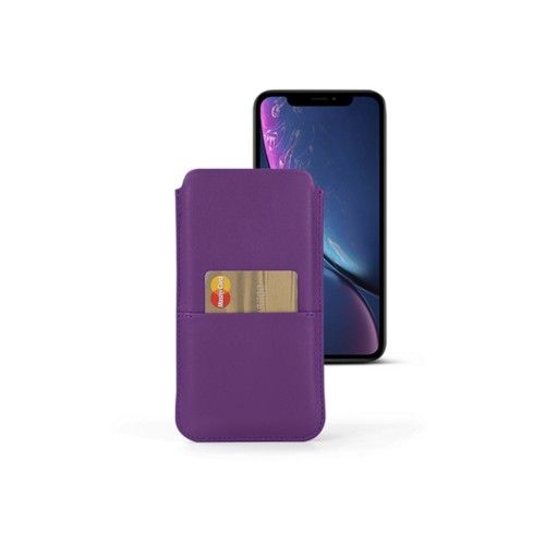 iPhone XR Pouch with pocket - Lavender - Smooth Leather