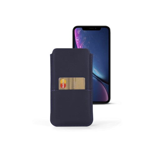 iPhone XR Pouch with pocket - Purple - Smooth Leather