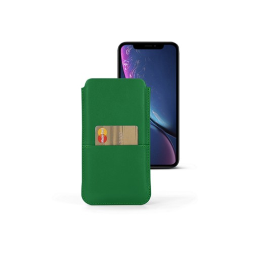 iPhone XR Pouch with pocket - Light Green - Smooth Leather