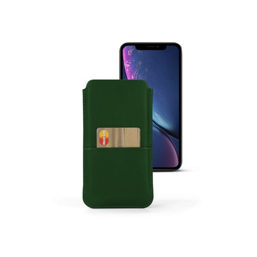 iPhone XR Pouch with pocket - Dark Green - Smooth Leather