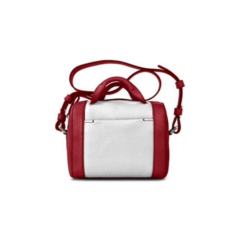 Mini Bowling Bag - Amaranto-White - Granulated Leather
