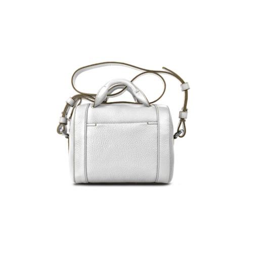 Mini-Bowlingtasche - Weiss - Genarbtes Leder