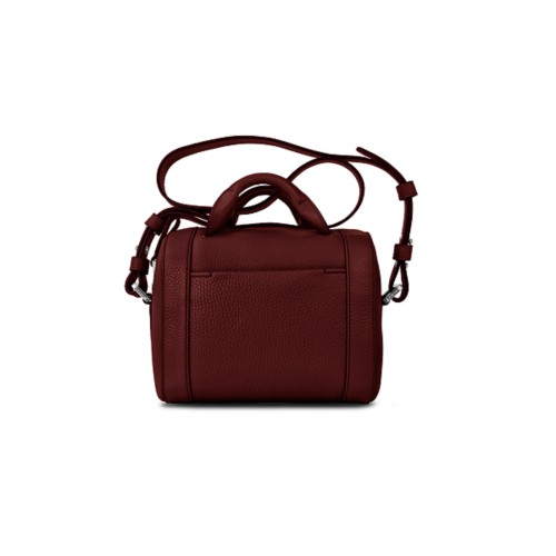 Mini Bowling Bag - Burgundy - Granulated Leather