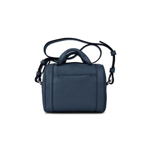 Mini Bowling Bag - Navy Blue - Granulated Leather