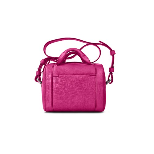 Mini Bowling Bag - Fuchsia - Granulated Leather