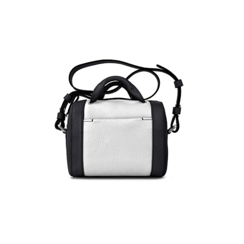 Mini Bowling Bag - Black-White - Granulated Leather