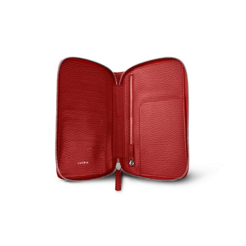 Luxury Travel Wallet - Red - Granulated Leather
