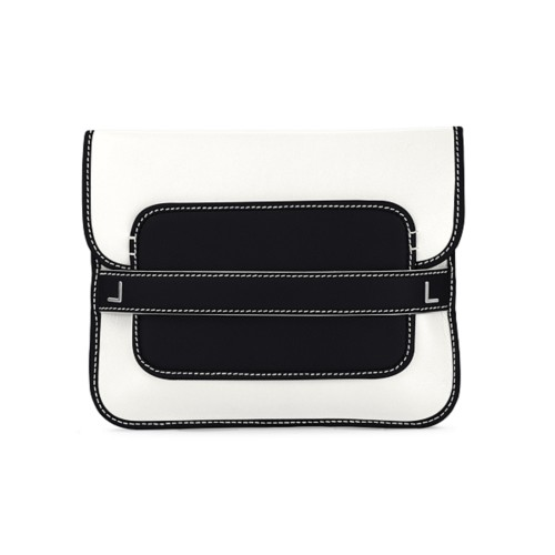 Evening Clutch Bag - White-Black - Smooth Leather