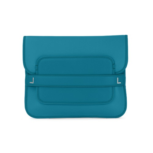 Evening Clutch Bag - Turquoise - Smooth Leather