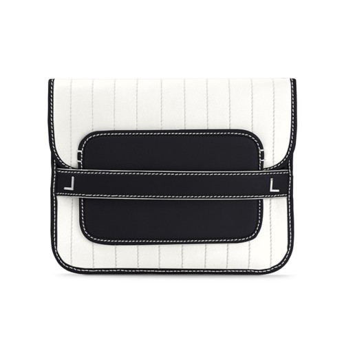 Evening Clutch Bag pin stripe style - White-Black - Smooth Leather