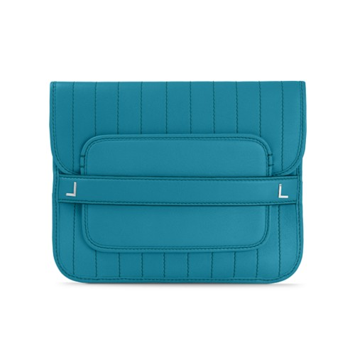 Evening Clutch Bag pin stripe style - Turquoise - Smooth Leather