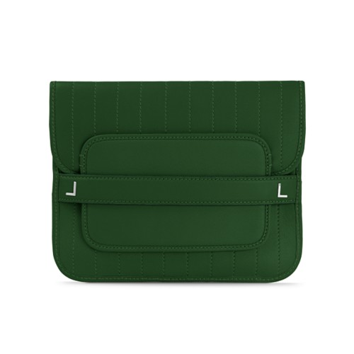 Evening Clutch Bag pin stripe style - Dark Green - Smooth Leather