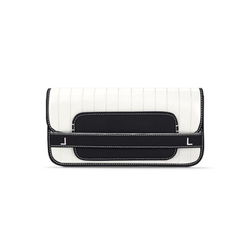 Clutch bag pin stripe style - White-Black - Smooth Leather