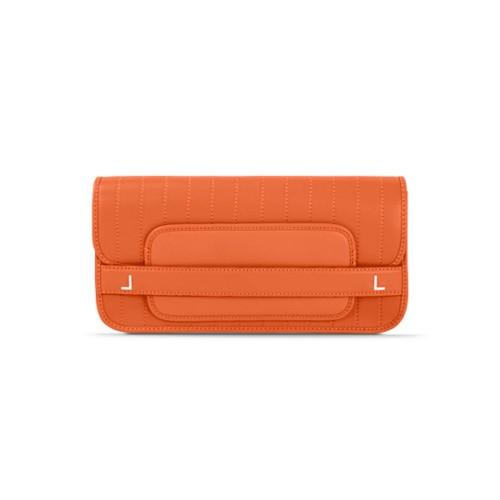 Clutch mit Nadelstreifen - Orange - Glattleder