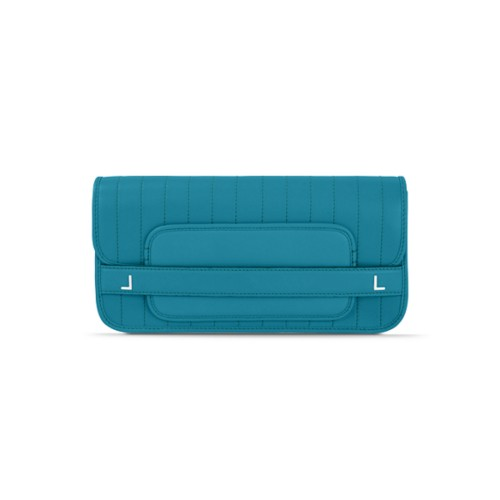 Clutch bag pin stripe style - Turquoise - Smooth Leather