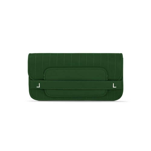 Clutch bag pin stripe style - Dark Green - Smooth Leather