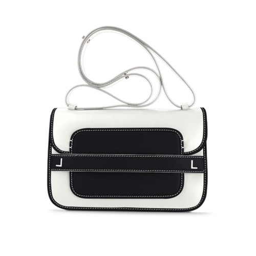Sling Bag for women - White-Black - Smooth Leather