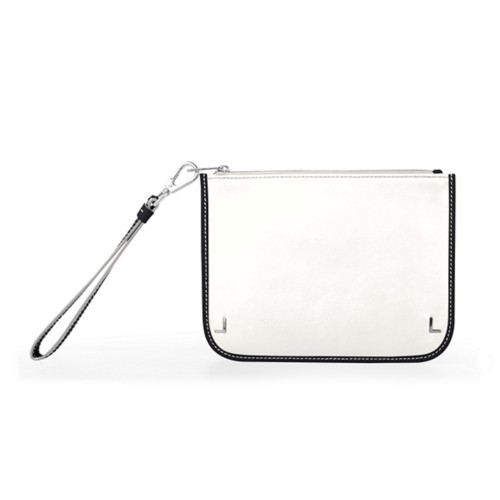 Clutch Purse - White-Black - Smooth Leather