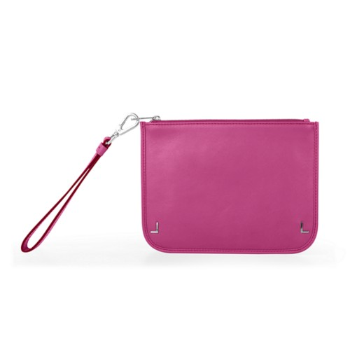 Clutch Purse - Fuchsia  - Smooth Leather