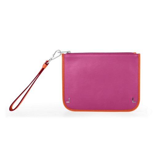 Clutch-Täschchen - Fuchsia-Orange - Glattleder