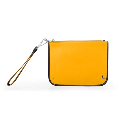Clutch Purse - Sun Yellow-Navy Blue - Smooth Leather