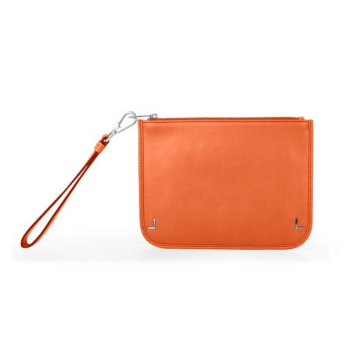 Clutch Purse - Orange - Smooth Leather