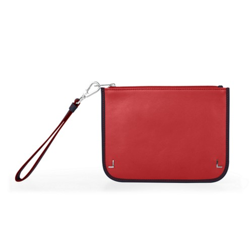 Clutch Purse - Red-Navy Blue - Smooth Leather