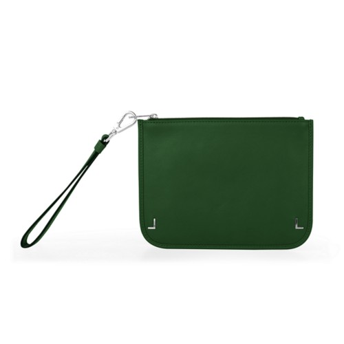 Clutch Purse - Dark Green - Smooth Leather